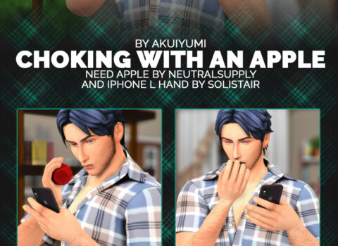 Chocking with an apple poses